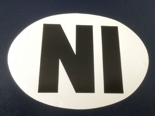 NI Sticker White UK Europe Euro Car Bike Van Adhesive Vinyl Weatherproof